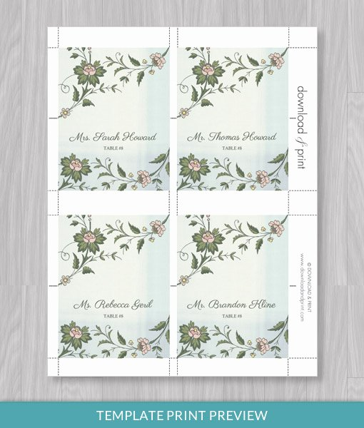 Place Card Template Word Awesome Watercolor Flowers Place Card Template – Download & Print
