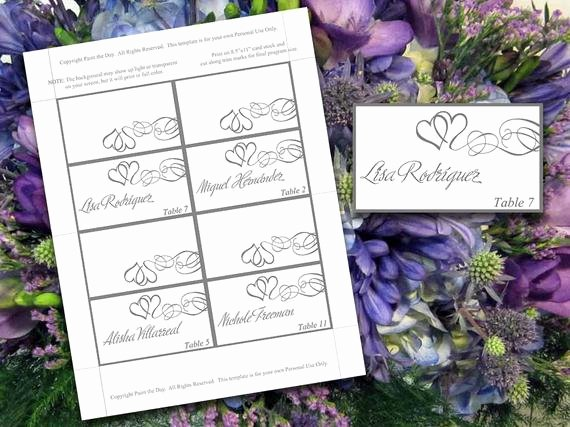 Place Card Template Word Beautiful Tent Place Cards Microsoft Word Template by Paintthedaydesigns