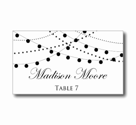Place Card Template Word Best Of Printable Wedding Place Card Template String Lights by