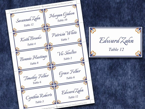 Place Card Template Word Fresh Items Similar to Wedding Place Cards Microsoft Word