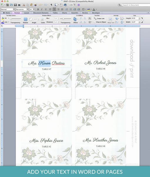 watercolor flowers place card template