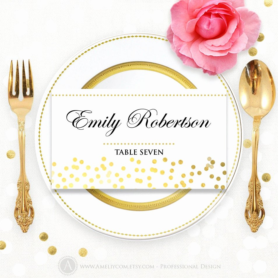 Place Card Template Word Inspirational Printable Place Card Template Folded Tent Cards Glam Gold