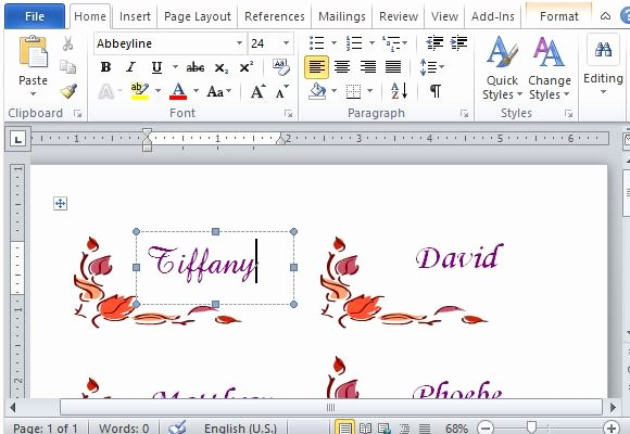 Place Card Template Word Inspirational Thanksgiving Place Cards Maker Template for Word