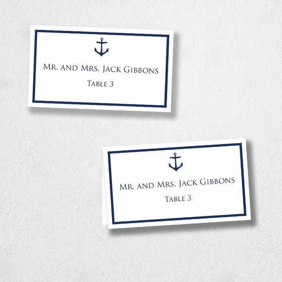 Place Card Template Word Lovely Avery Place Card Template Anchor Instant Download Escort