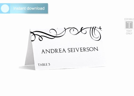 Place Card Template Word Lovely Place Card Template Download Instantly by Karmakweddings