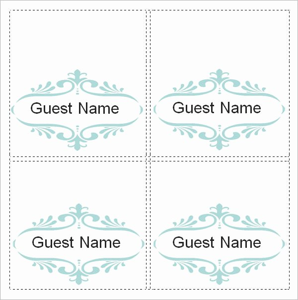Place Card Template Word Lovely Sample Place Card Template 6 Free Documents Download In