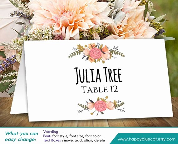 Place Card Template Word Unique Diy Printable Wedding Place Card Template Instant Download