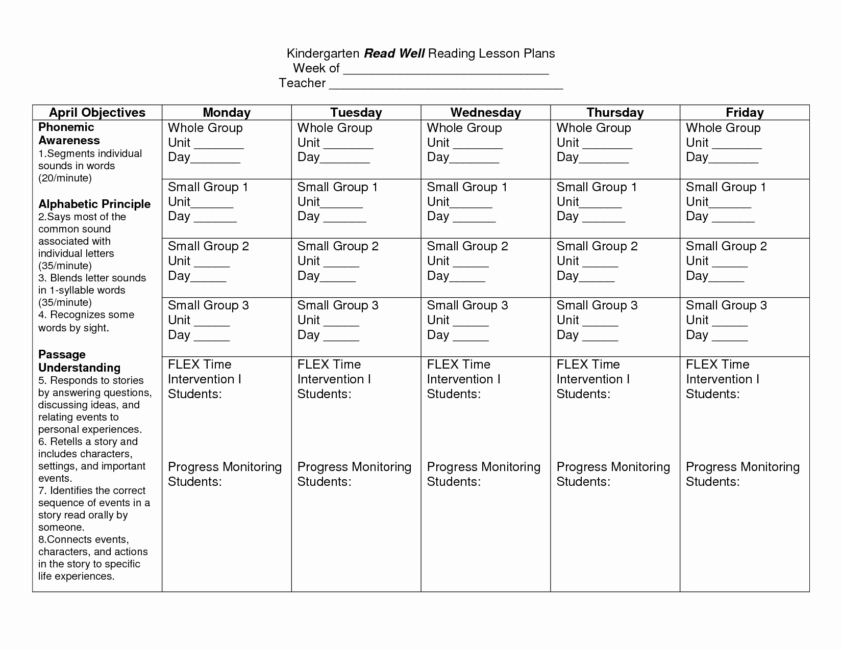 Pre Kindergarten Lesson Plan Template Awesome Kindergarten Lesson Plan Template