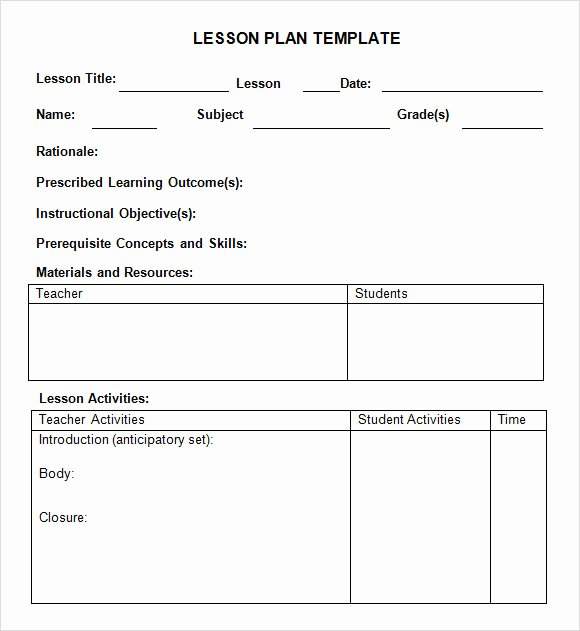 Pre Kindergarten Lesson Plan Template Elegant Sample Weekly Lesson Plan 8 Documents In Pdf Word