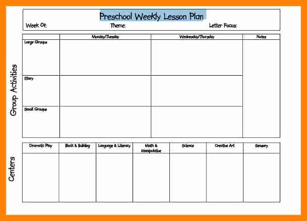Pre Kindergarten Lesson Plan Template Fresh Weekly Lesson Plan for Preschool