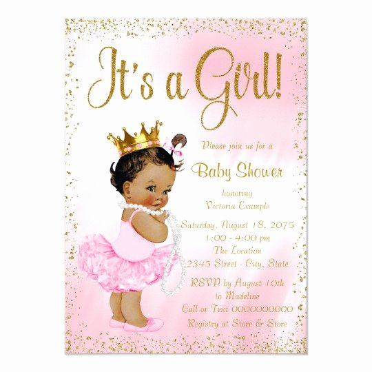 Princess Baby Shower Invitations Best Of Pink Gold African American Princess Baby Shower Invitation