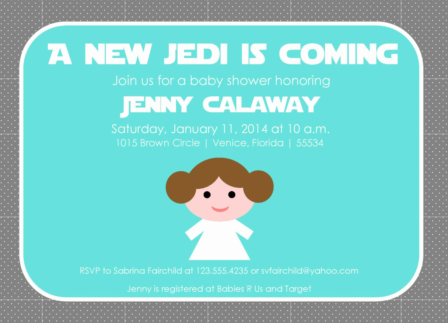 Princess Baby Shower Invitations Elegant Princess Leia Baby Shower Invitation