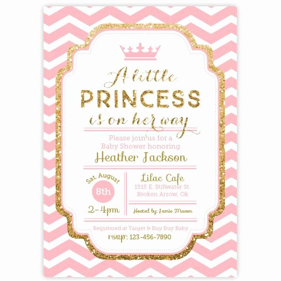 Princess Baby Shower Invitations Fresh Chevron Princess Baby Shower Invitation Pink and Gold