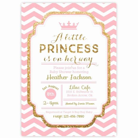 Princess Baby Shower Invitations Fresh Chevron Princess Baby Shower Invitation Pink and Gold