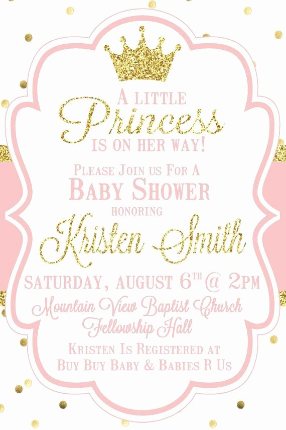 Princess Baby Shower Invitations Fresh Little Princess Baby Shower Invitation Pink by