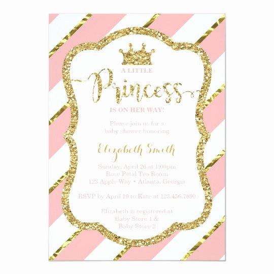 Princess Baby Shower Invitations Fresh Little Princess Baby Shower Invite Faux Glitter Card