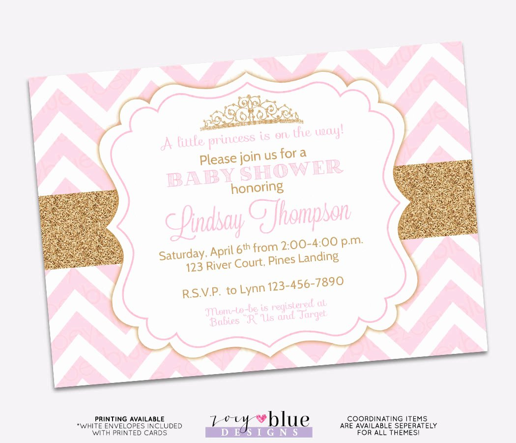 Princess Baby Shower Invitations Fresh Princess Baby Shower Invitation Pink Chevron Gold Glitter