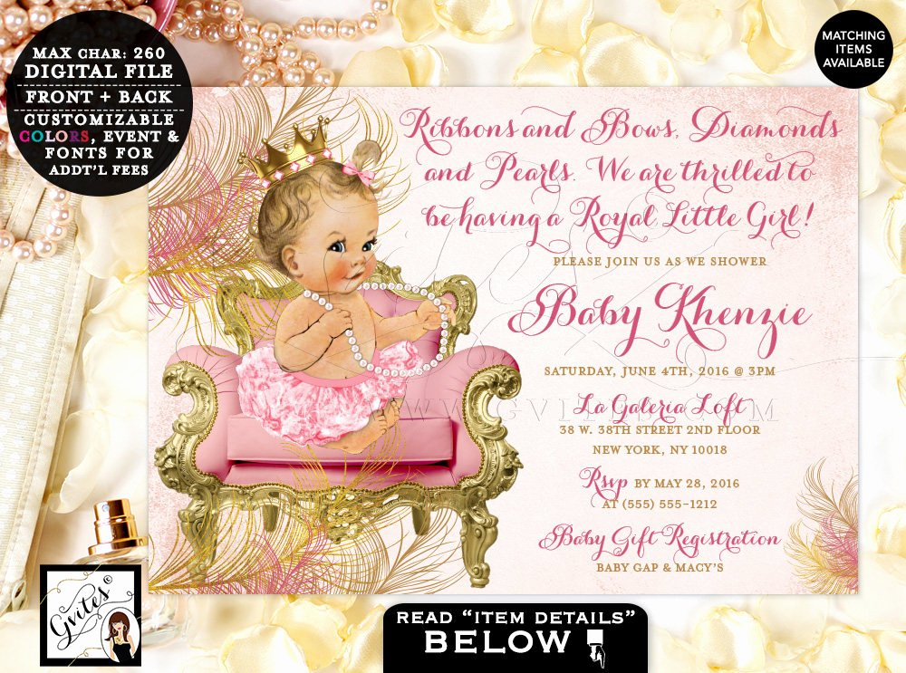 Princess Baby Shower Invitations Inspirational Blush Pink and Gold Royal Princess Baby Shower Invitations