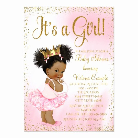 Princess Baby Shower Invitations Inspirational Pink Gold African American Princess Baby Shower Invitation