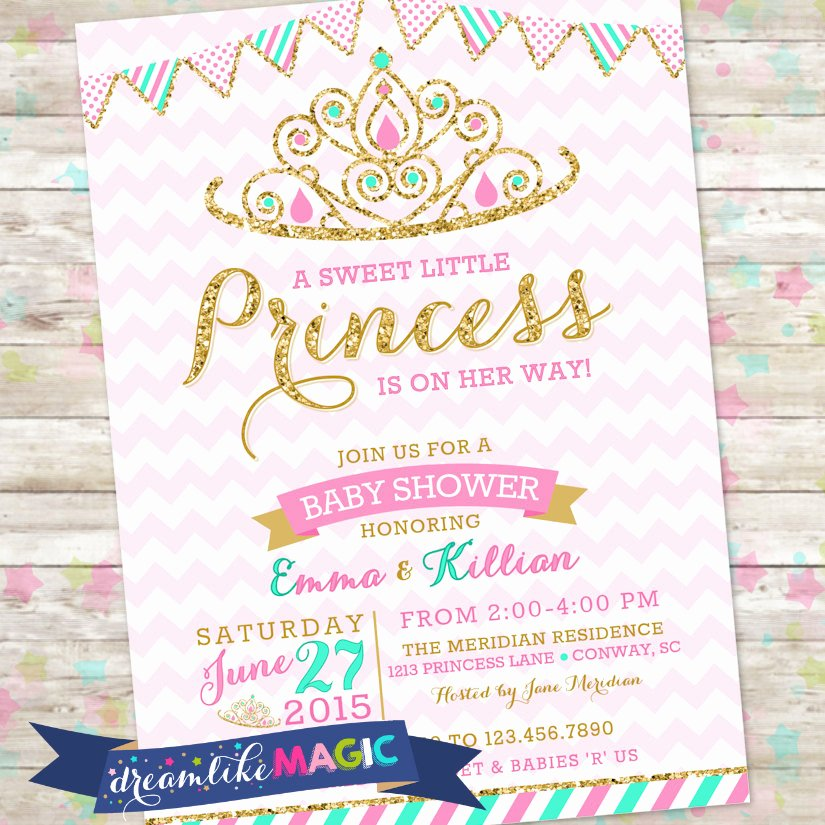 Princess Baby Shower Invitations Inspirational Princess Baby Shower Invitation Royal Princess Invite Pink