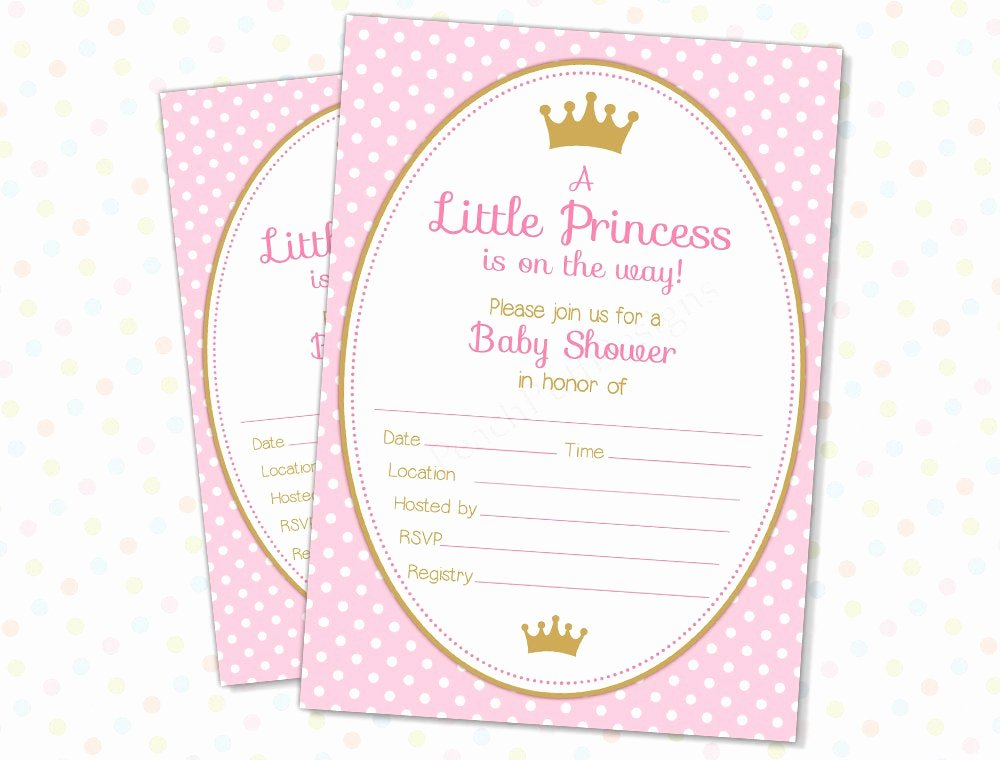 Princess Baby Shower Invitations Lovely Princess Baby Shower Invitation Instant Download Fill In