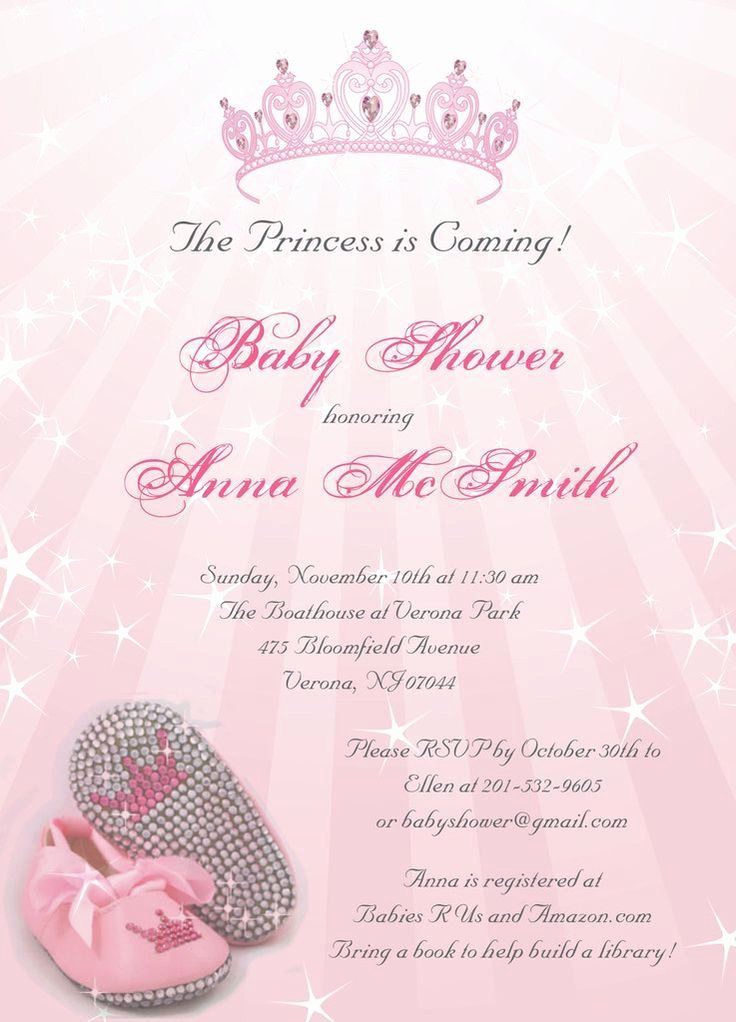 Princess Baby Shower Invitations Lovely Princess Baby Shower Invitations