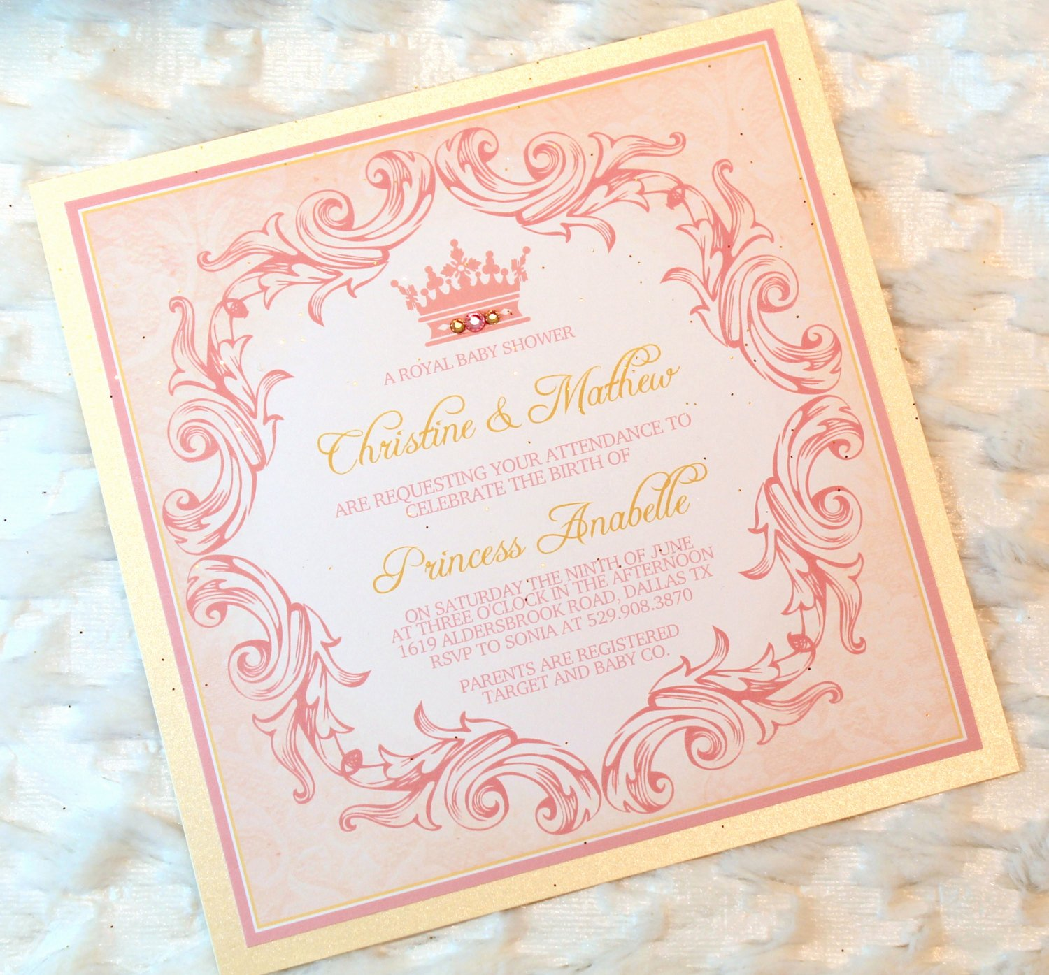 Princess Baby Shower Invitations Luxury 12 Princess Baby Girl Shower Invitations Royal Pink by