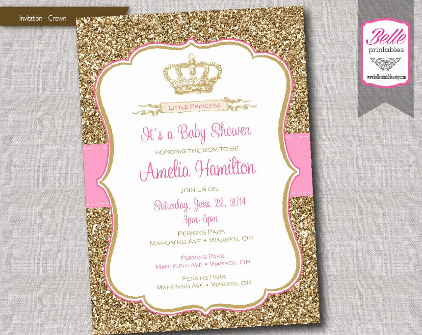 Princess Baby Shower Invitations Luxury Baby Shower Invitation Princess Crown for Girl by