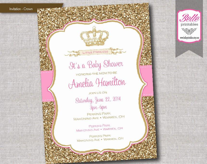 Princess Baby Shower Invitations Luxury Baby Shower Invitation Princess Crown for Girl by