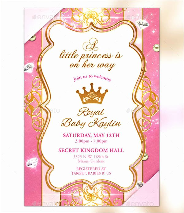 Princess Baby Shower Invitations New 18 Beautiful Princess Invitations Psd Ai