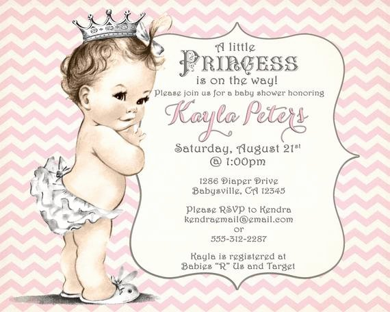 Princess Baby Shower Invitations New Girl Baby Shower Invitation Chevron Princess for Girl Pink