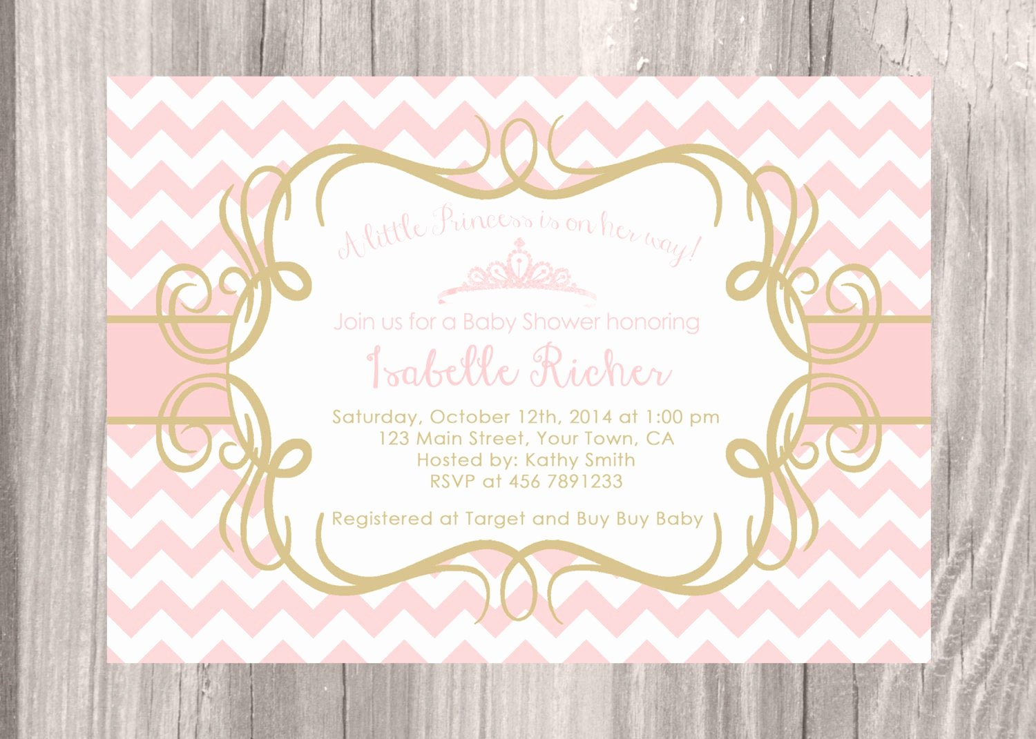 Princess Baby Shower Invitations New Little Princess Baby Shower Invitation Pink by Jcpartyprint