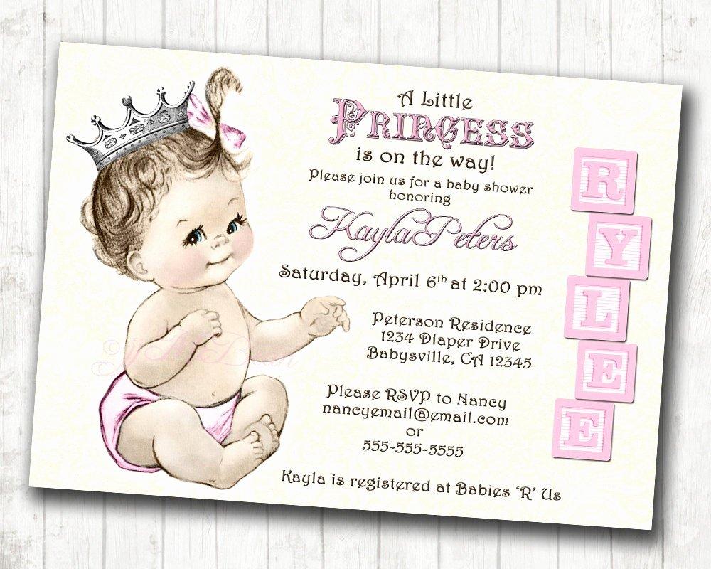Princess Baby Shower Invitations New Princess Baby Shower Invitation for Girl Vintage Princess