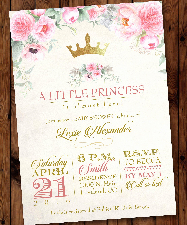 Princess Baby Shower Invitations New Princess Baby Shower Invitation Pink Princess Baby