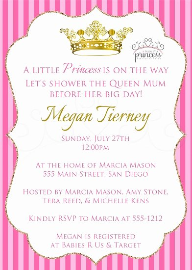 Princess Baby Shower Invitations Unique Little Princess Printable Baby Shower Invitation