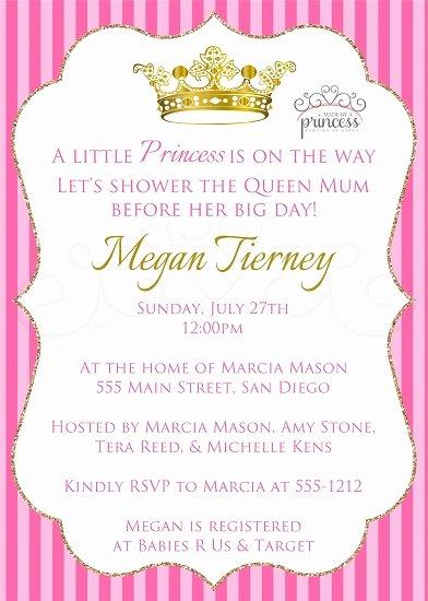 Princess Baby Shower Invitations Unique Little Princess Printable Baby Shower Invitation
