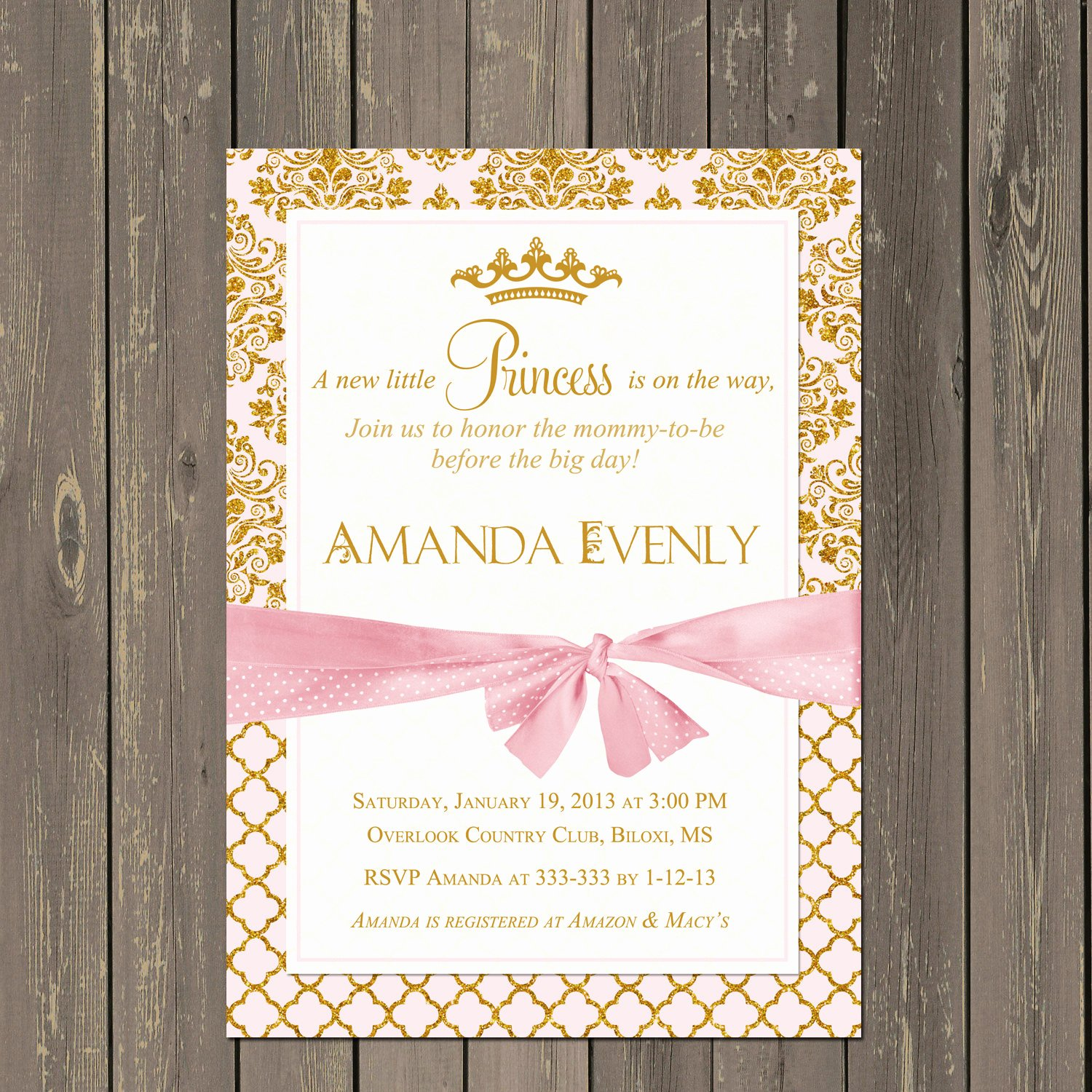 Princess Baby Shower Invitations Unique Princess Baby Shower Invitation Pink and Gold Princess Shower