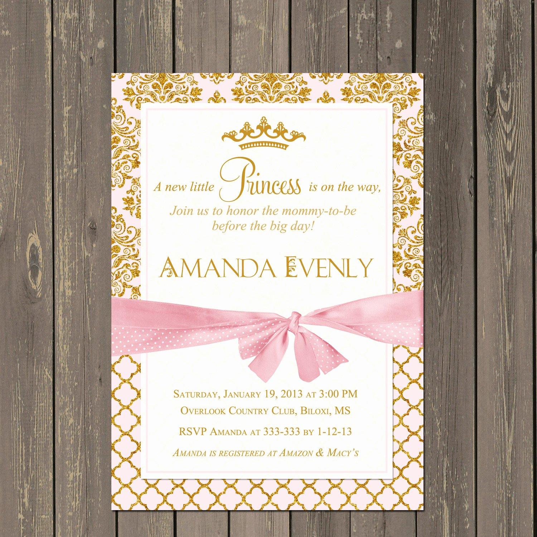 Princess Baby Shower Invitations Unique Princess Baby Shower Invitation Pink and Gold Princess Shower