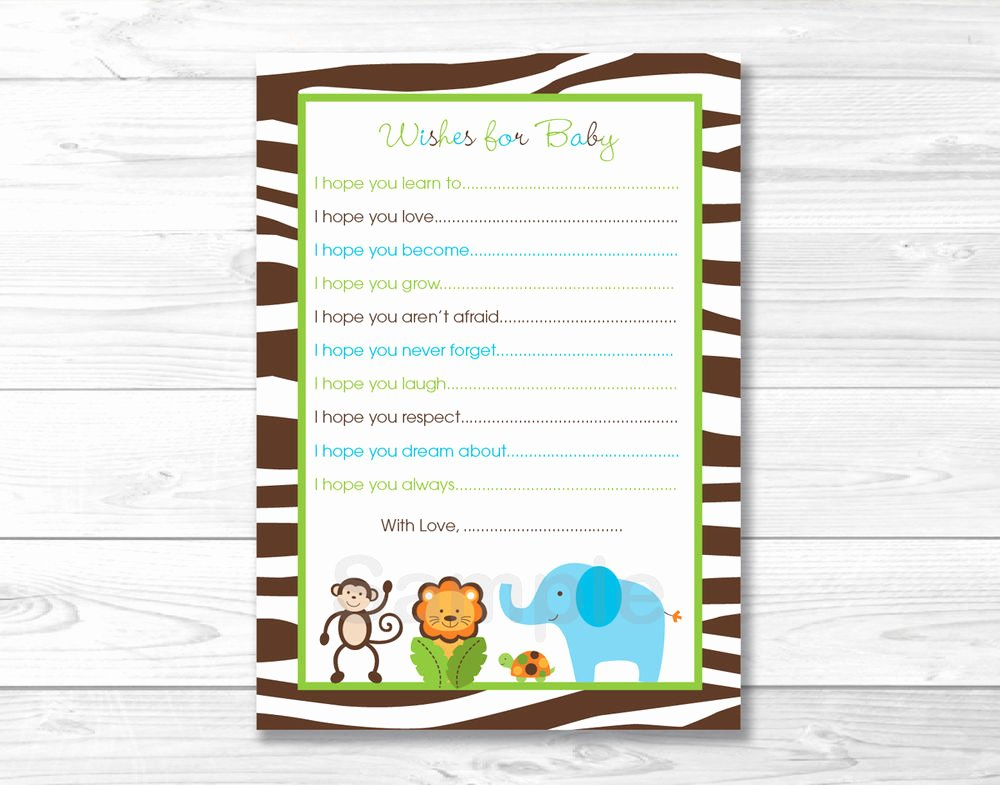 Printable Baby Shower Cards Awesome Jazzy Jungle Printable Baby Shower Wishes for Baby Advice