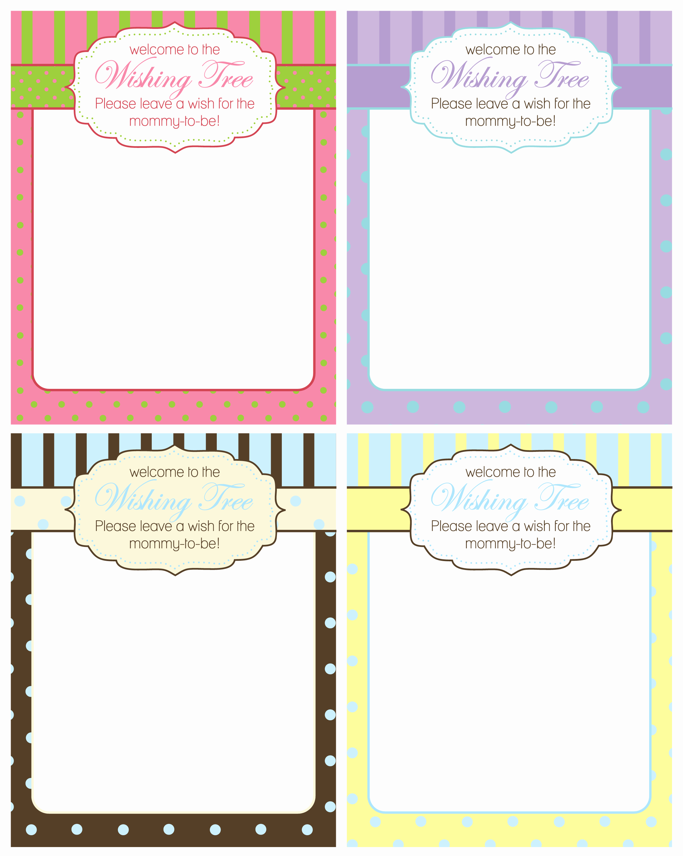 Printable Baby Shower Cards Beautiful Free Baby Shower Wishing Tree Cards From A Party Studio