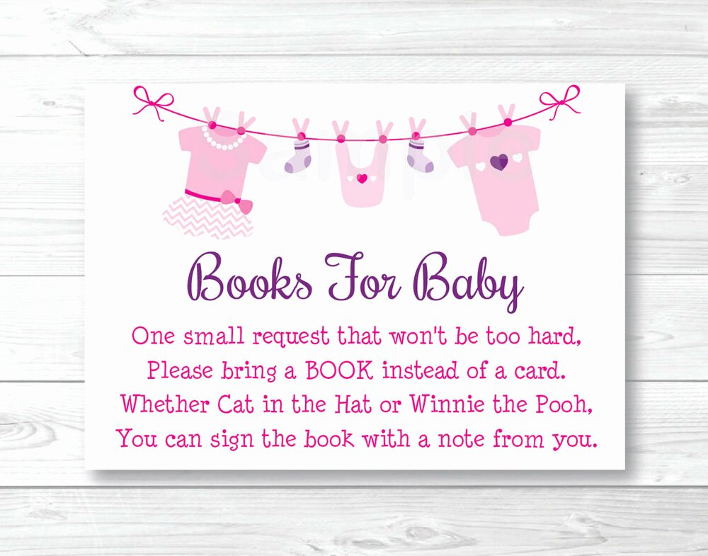 Printable Baby Shower Cards Beautiful Pink Baby Clothesline Printable Baby Shower Book Request