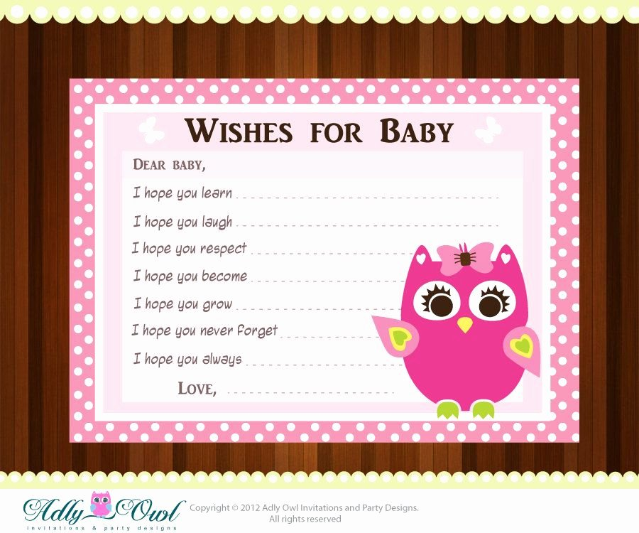 Printable Baby Shower Cards Beautiful Pink Girl Owl Baby Shower Wish and Advice Card Printable