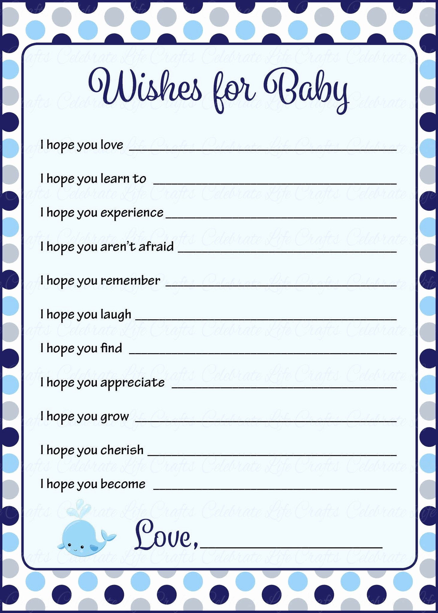 Printable Baby Shower Cards Fresh Wishes for Baby Shower Activity Whale Baby Shower theme