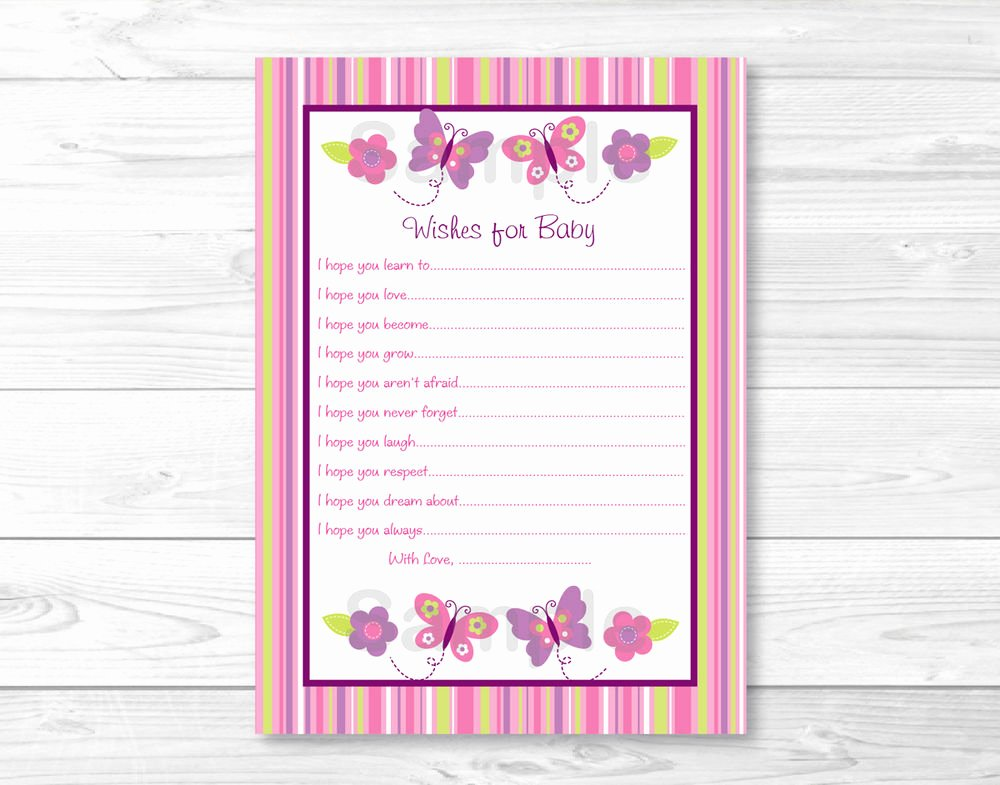 Printable Baby Shower Cards Lovely Baby Girl Pink butterfly Printable Baby Shower Wishes for