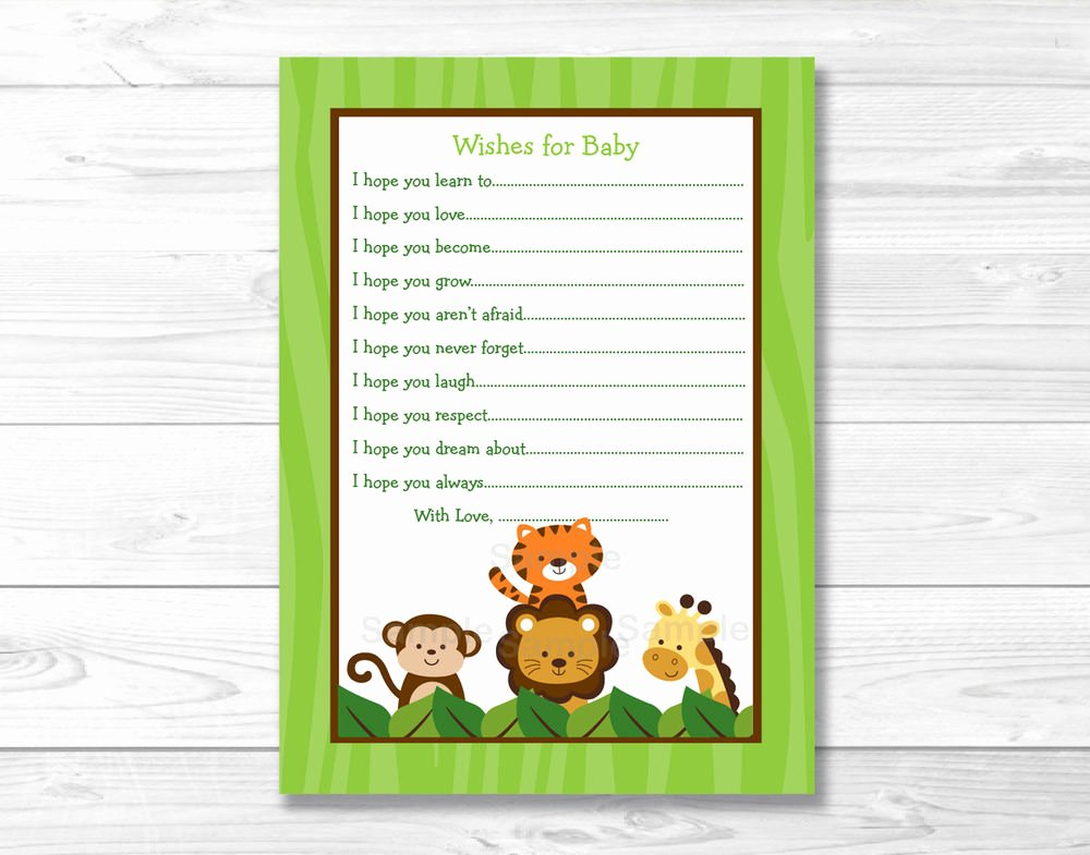 Printable Baby Shower Cards Lovely Jungle Safari Friends Printable Baby Shower Wishes for
