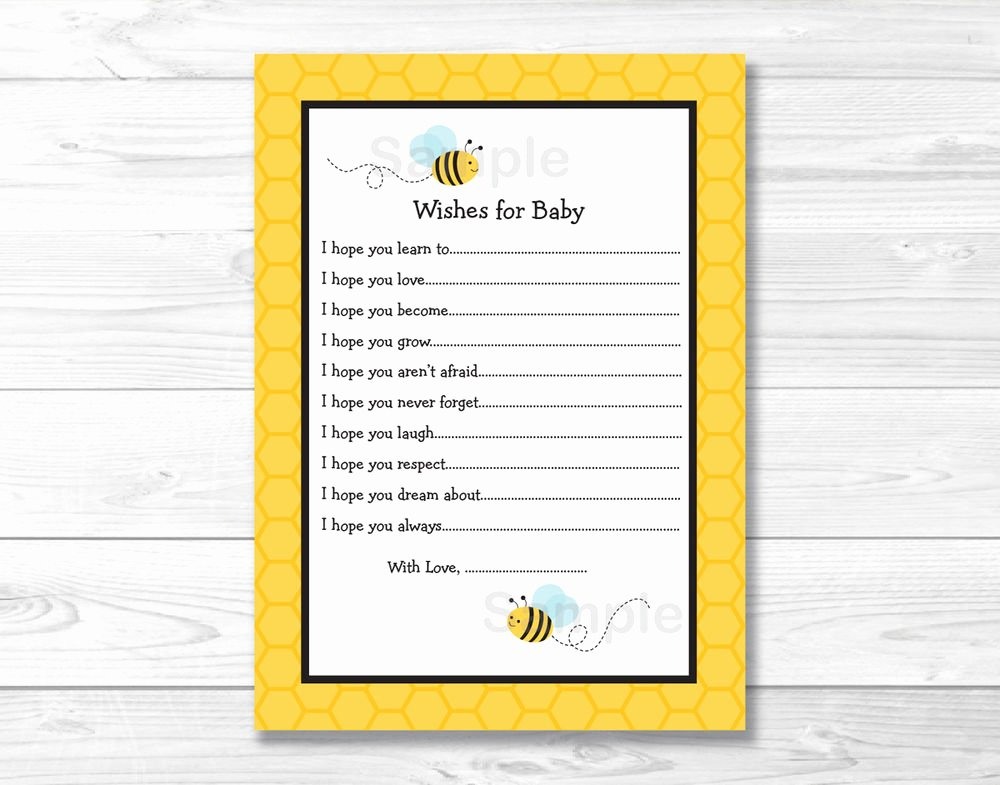 Printable Baby Shower Cards Lovely Sweet Little Bumble Bee Printable Baby Shower Wishes for