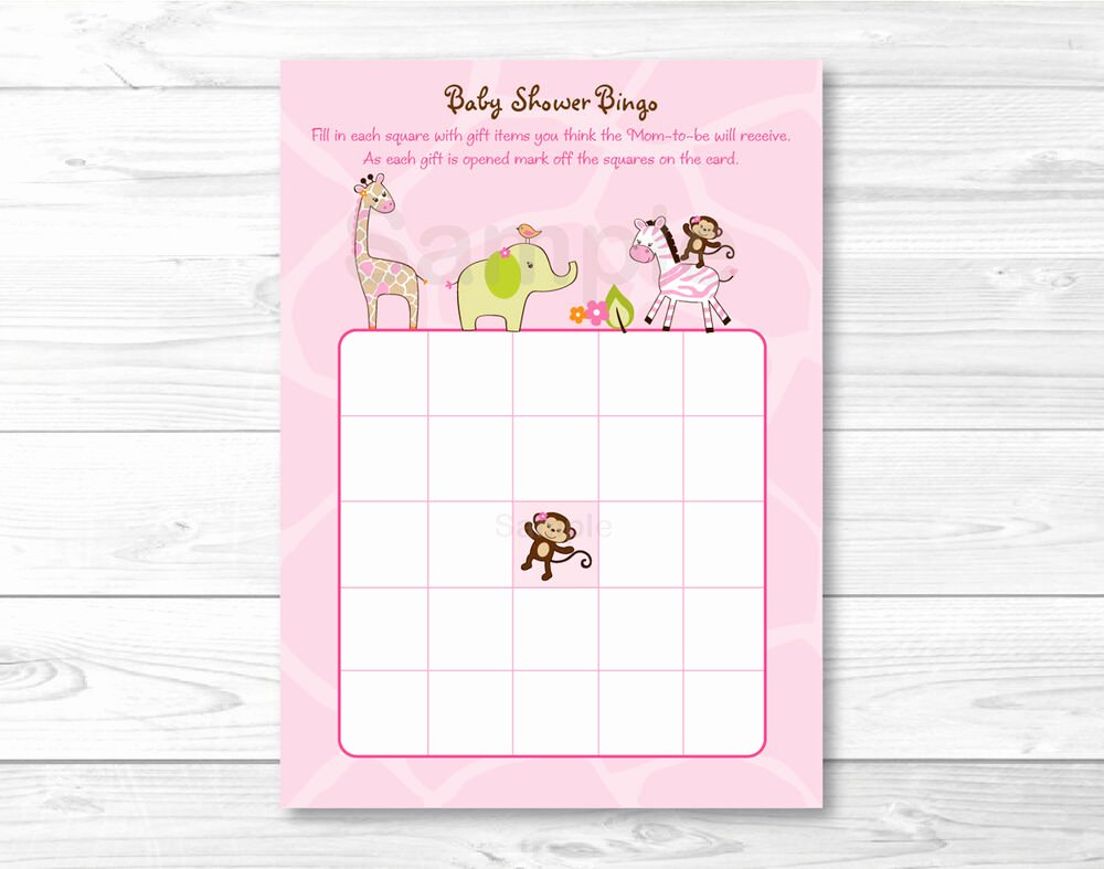 Printable Baby Shower Cards Luxury Safari Girl Jungle Animal Printable Baby Shower Bingo
