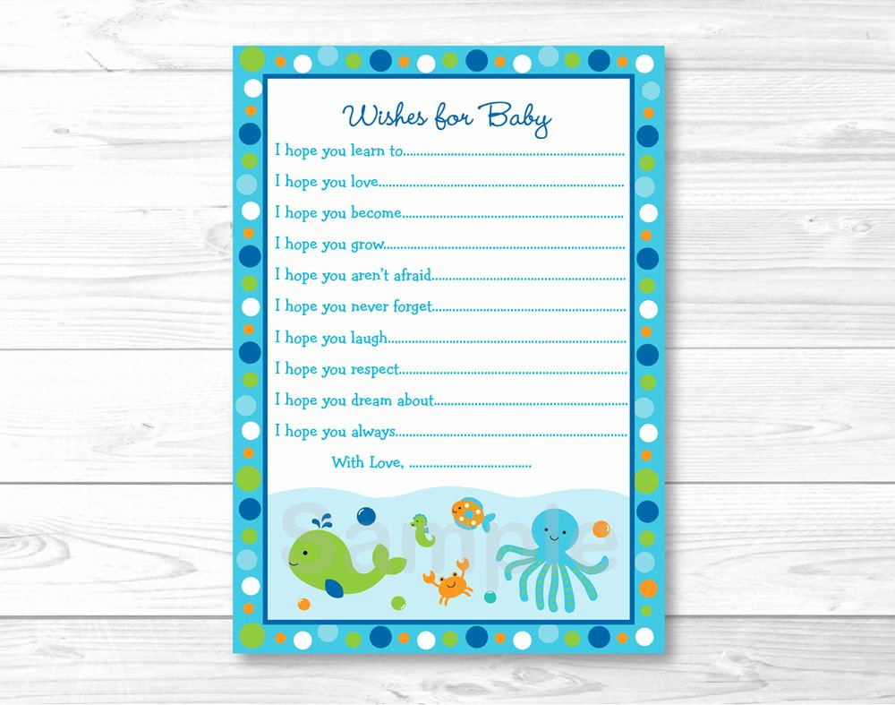 Printable Baby Shower Cards Luxury Under the Sea Nautical Blue Printable Baby Shower Wishes