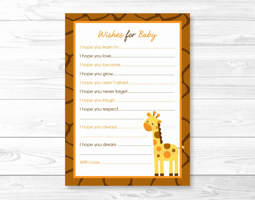 Printable Baby Shower Cards New Giraffe Jungle Safari Printable Baby Shower Wishes for