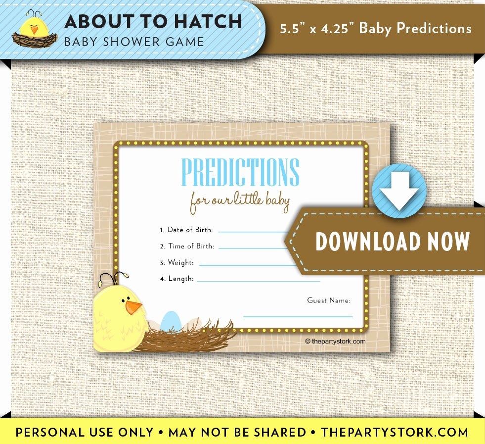 Printable Baby Shower Cards Unique Baby Prediction Card Printable Duck Baby Shower Cards About